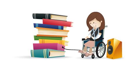 personne en fauteuil roulant écoutant un livre sonore