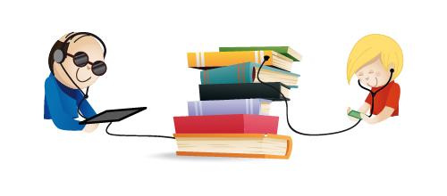 deux personnes utilisent des tablettes connectées à des livres