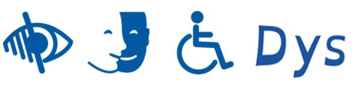 Logos handicap visuel, handicap moteur, handicap intellectuel, troubles DYS